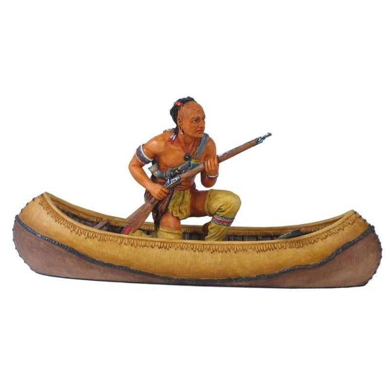 Mahican Indian on Canoe Figurine