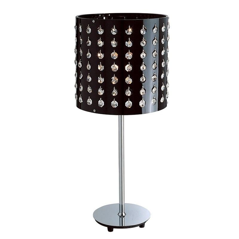 Stainless Steel Table Lamp with Crystal Drops on Shade