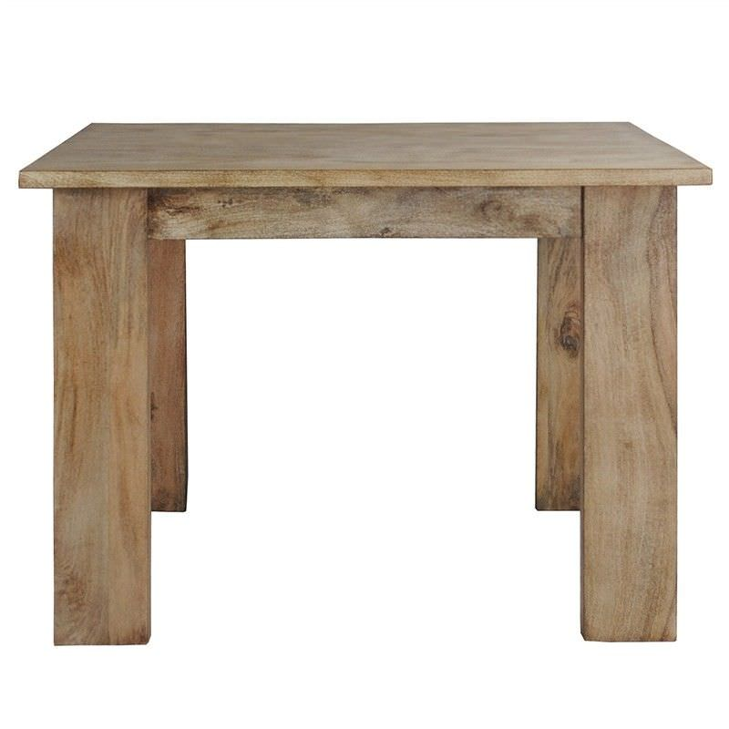 Neasham Solid Mango Wood Timber 110cm Square Dining Table - White Washed Natural