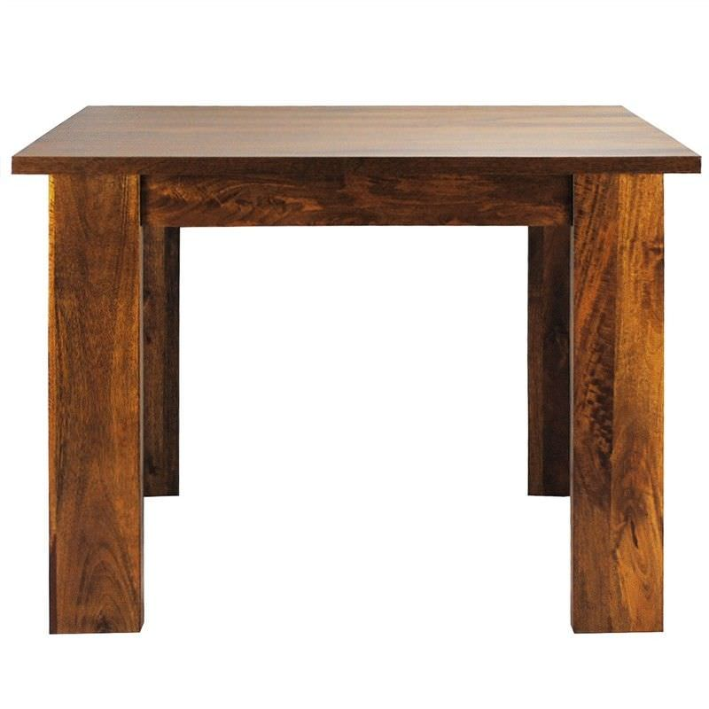 Neasham Solid Mango Wood Timber Square Dining Table, 150cm, Distressed Mango Teak