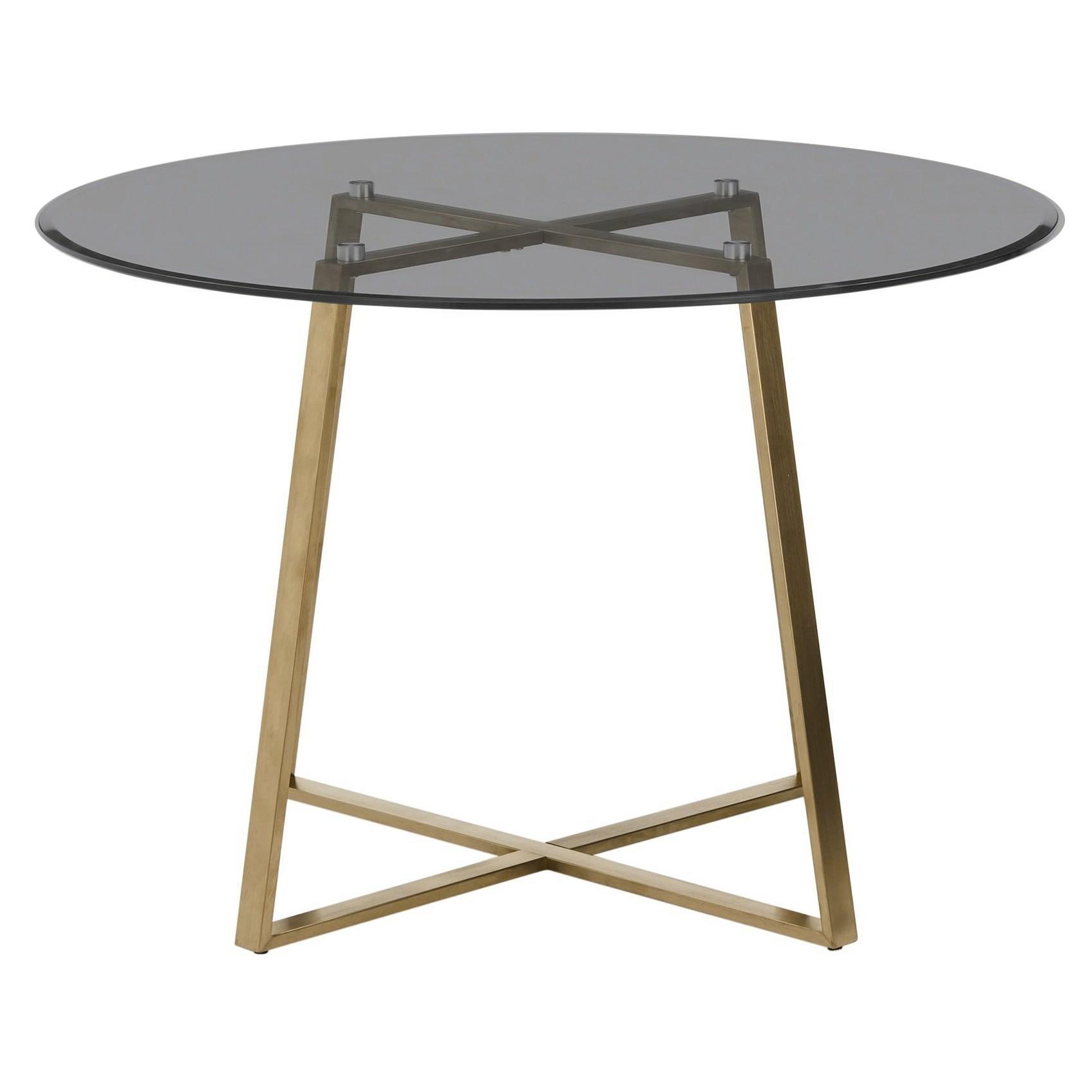 Akira Round Dining Table, 120cm, Smokey Grey / Gold