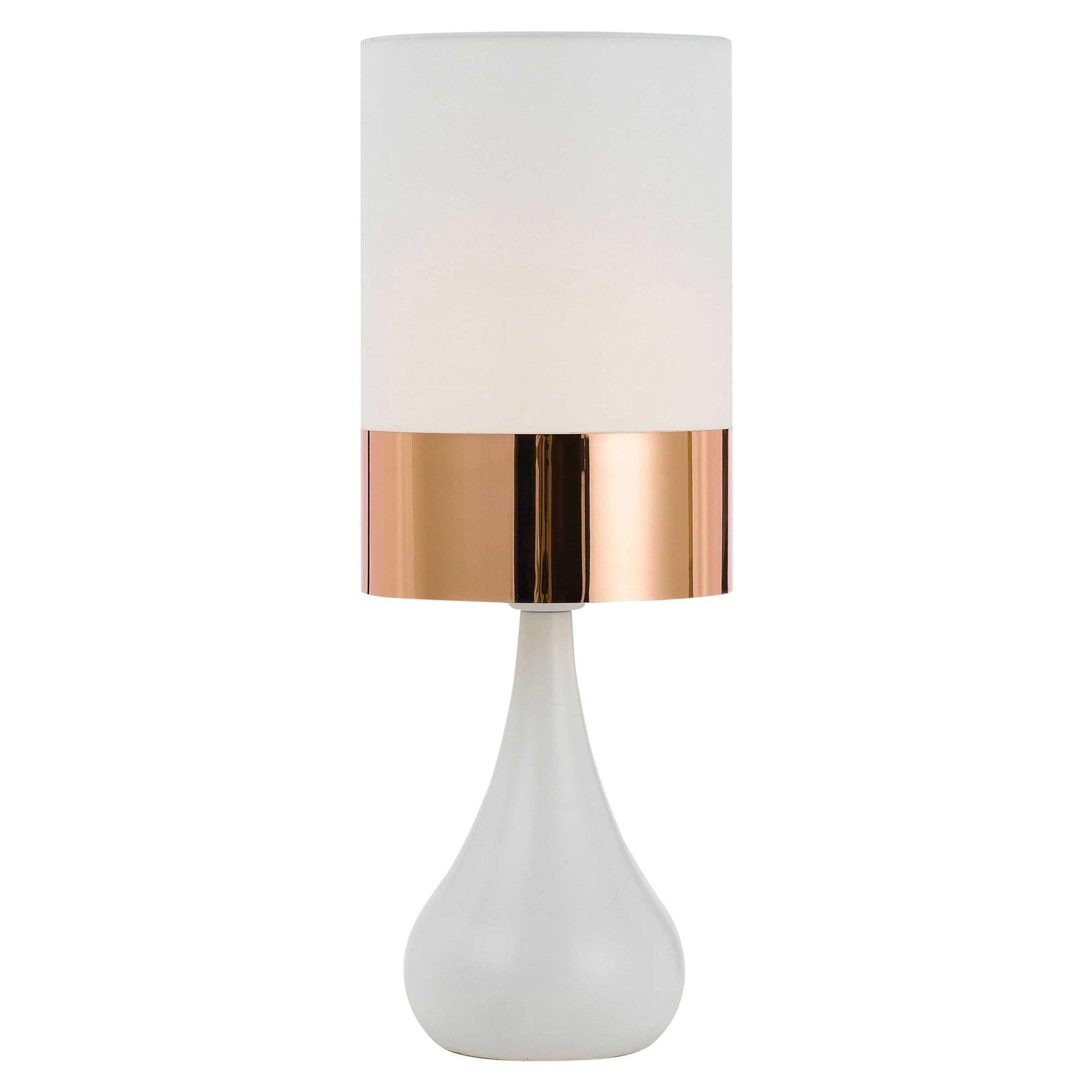 Akira Ceramic Base Table Lamp, White Base / Ivory & Copper Shade