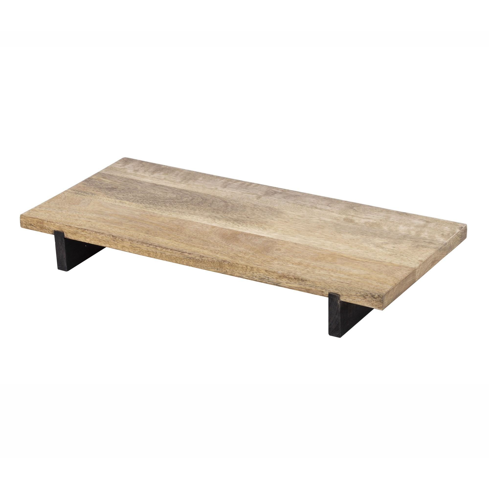 James Mango Wood Rectangular Serving Board with Metal Stand
