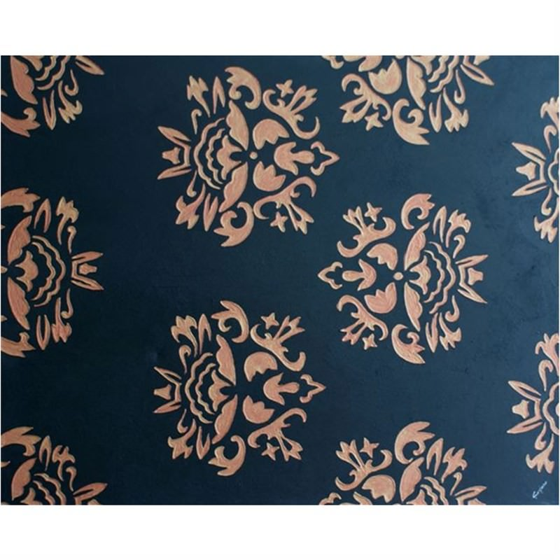 Damask-Black and Gold - Hand Painted with Artist Signature - 150x120cm