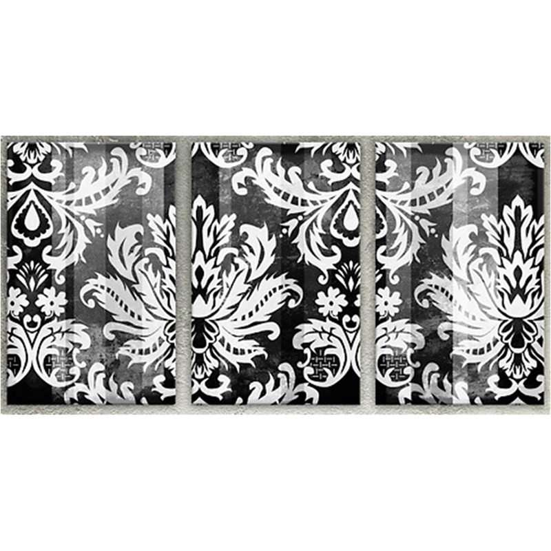 Damask-White On Black Set of 3 Pieces - Hand Painted with Artist Signature