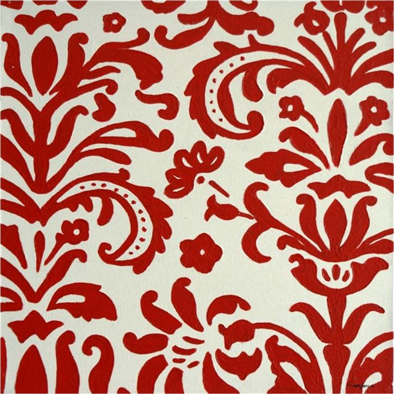 Damask-Red - Hand Painted with Artist Signature - 60x60cm