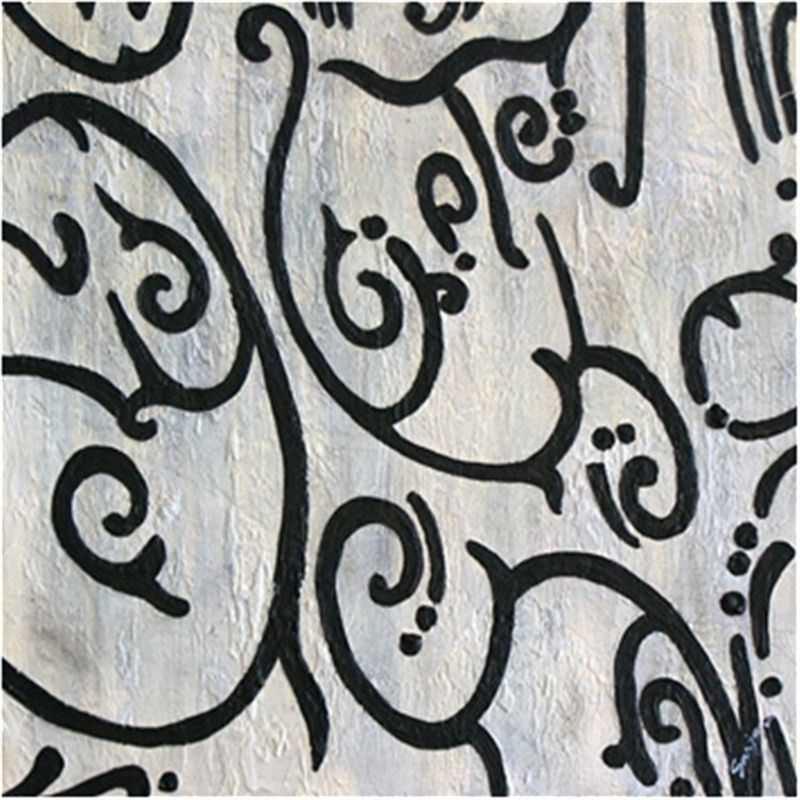 Gardenia-Black and White - Hand Painted - 60x60cm