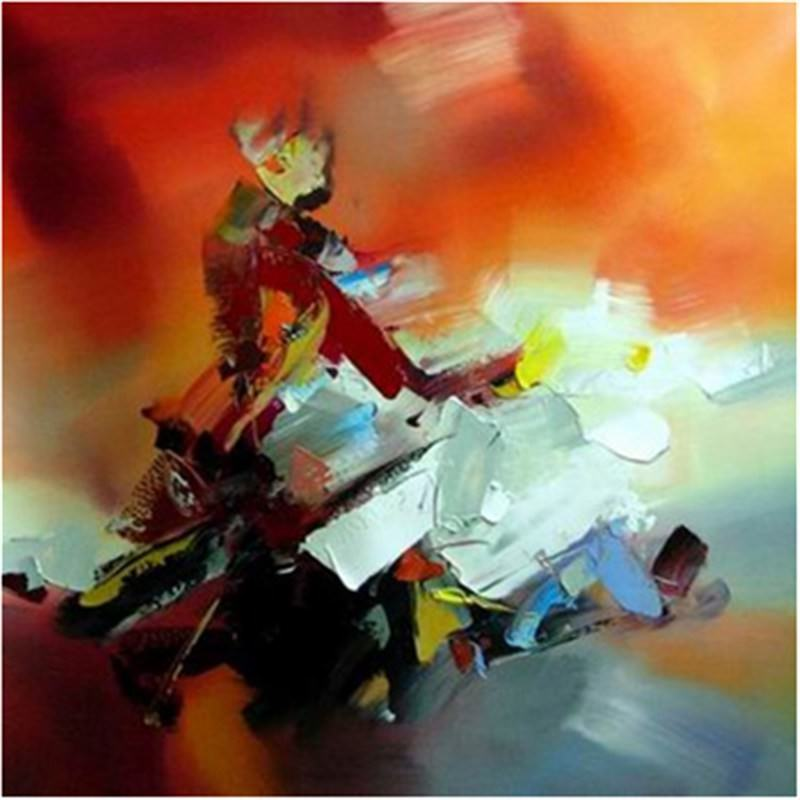 Red Burst 90x90cm - Hand painted