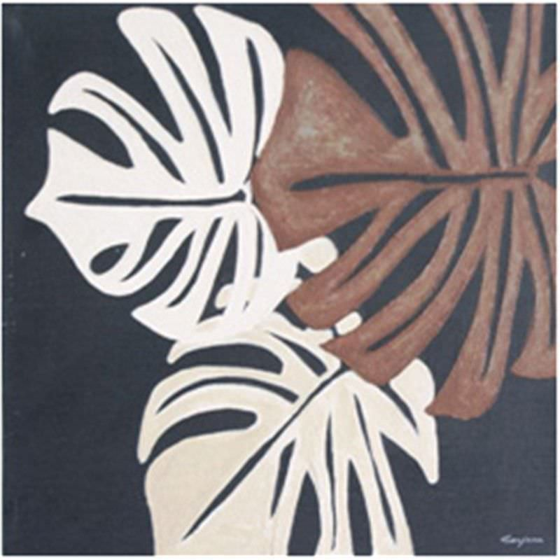 Rubber Leaves - Hand Painted - 60x60cm
