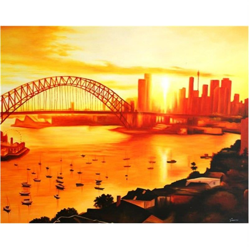 Sunrise Over Sydney - Hand Painted - 150x120cm