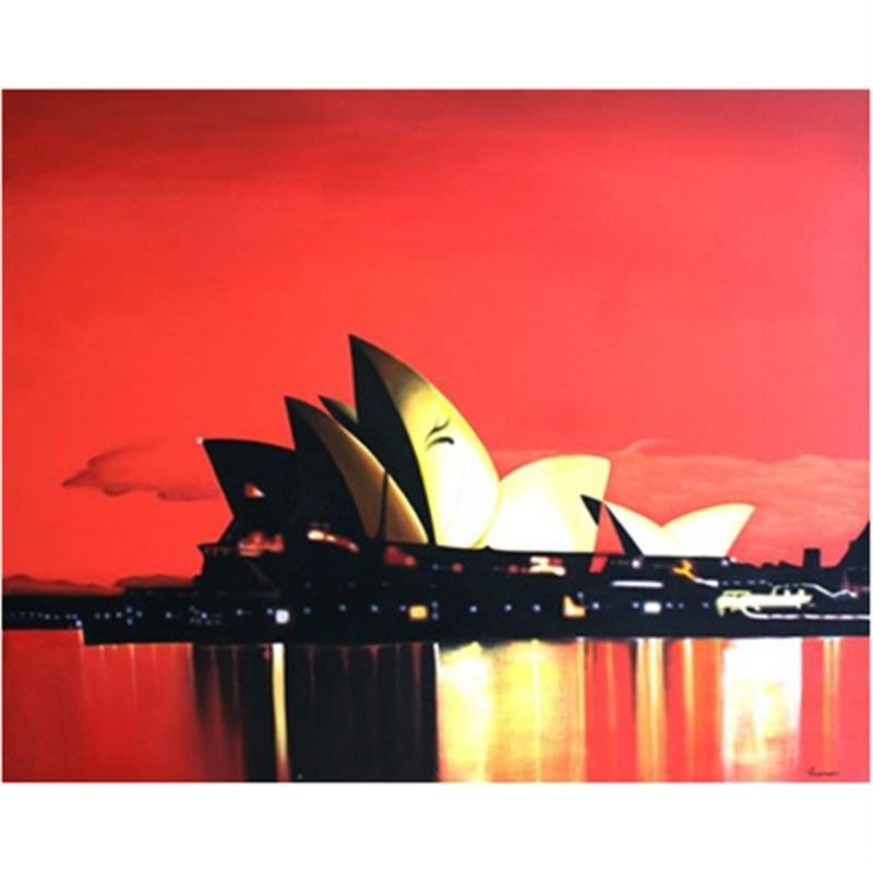 Sunset Over Opera House - Hand Painted - 150x120cm
