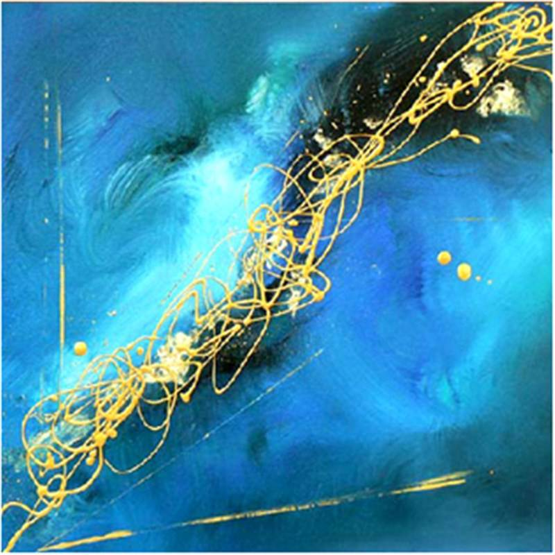 Mist-Blue - Hand Painted with Artist Signature - 120x120cm