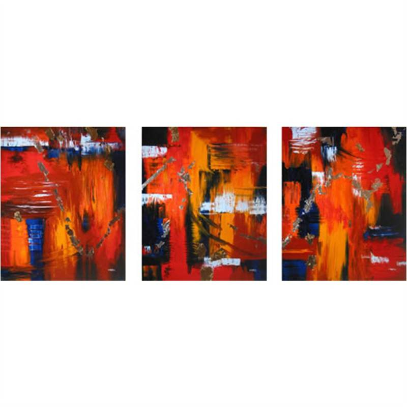 Refelctions-Red Set of 3 Pieces - Hand Painted with Artist Signature