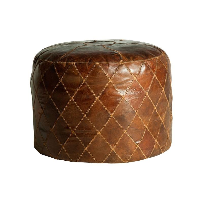 Bourne Aged Leather Ottoman, Round