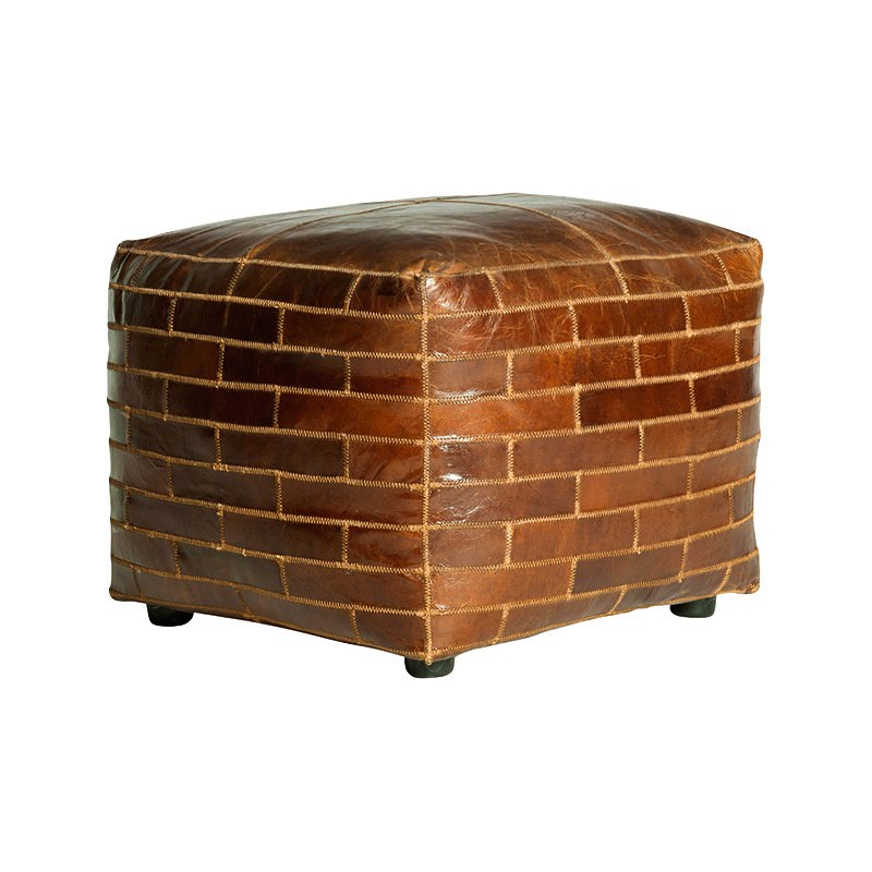 Bourne Aged Leather Ottoman, Square