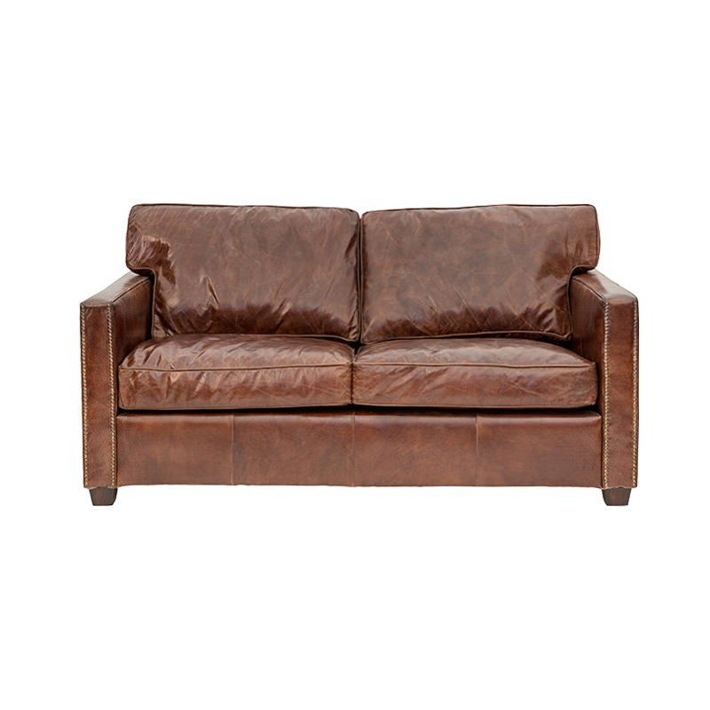 Chatham Aged Leather Sofa, 2 Seater, Cigar