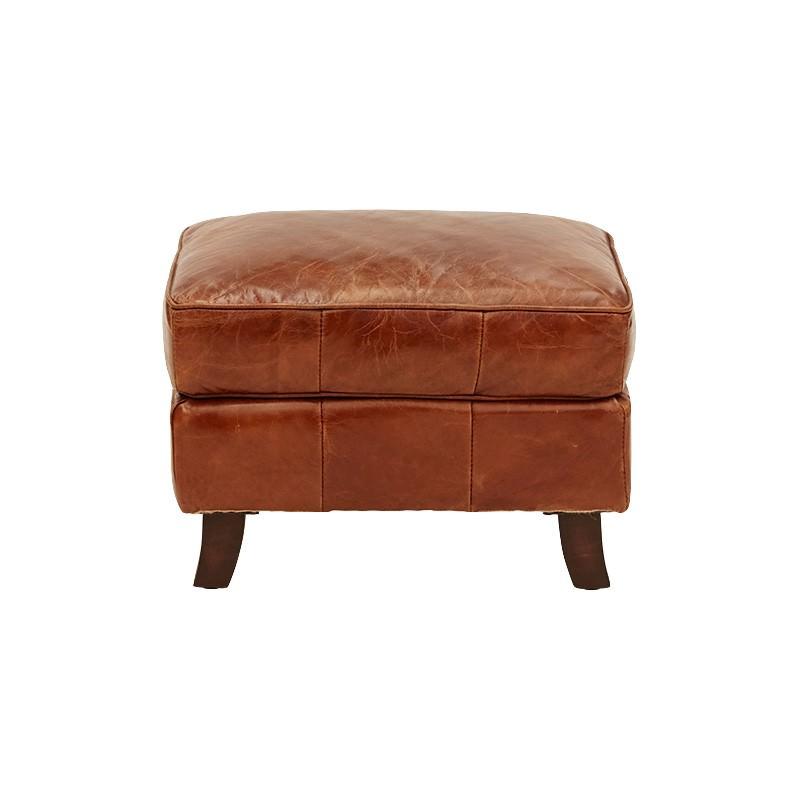 Ripon Aged Leather Ottoman