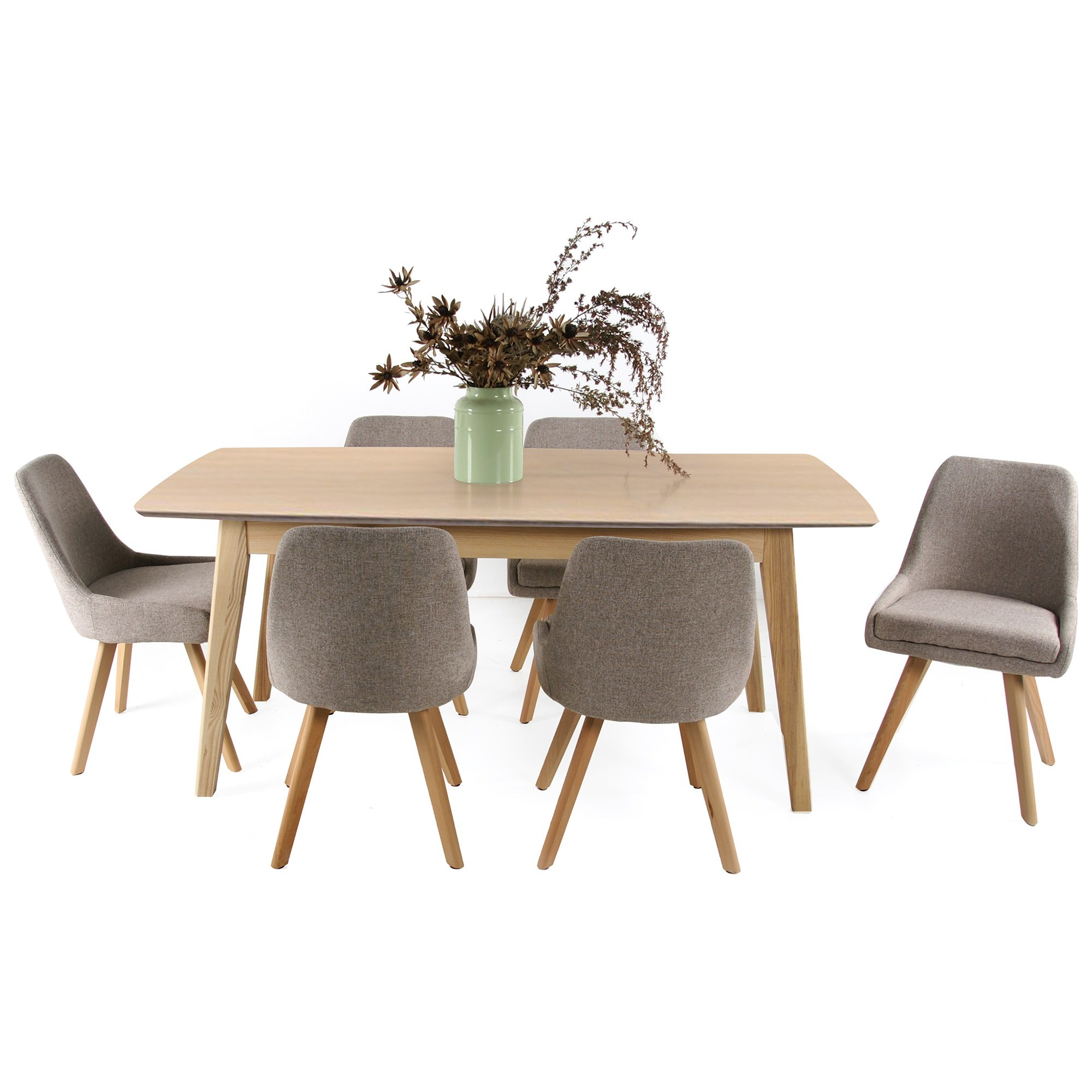 Alexandria 7 Piece Extendable Dining Table Set, 180-220cm, Natural Top, with Alexandria Chair