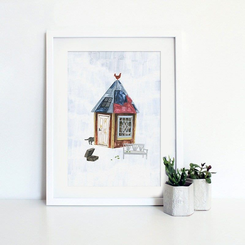 White Framed Canvas Print Wall Art - Cottage