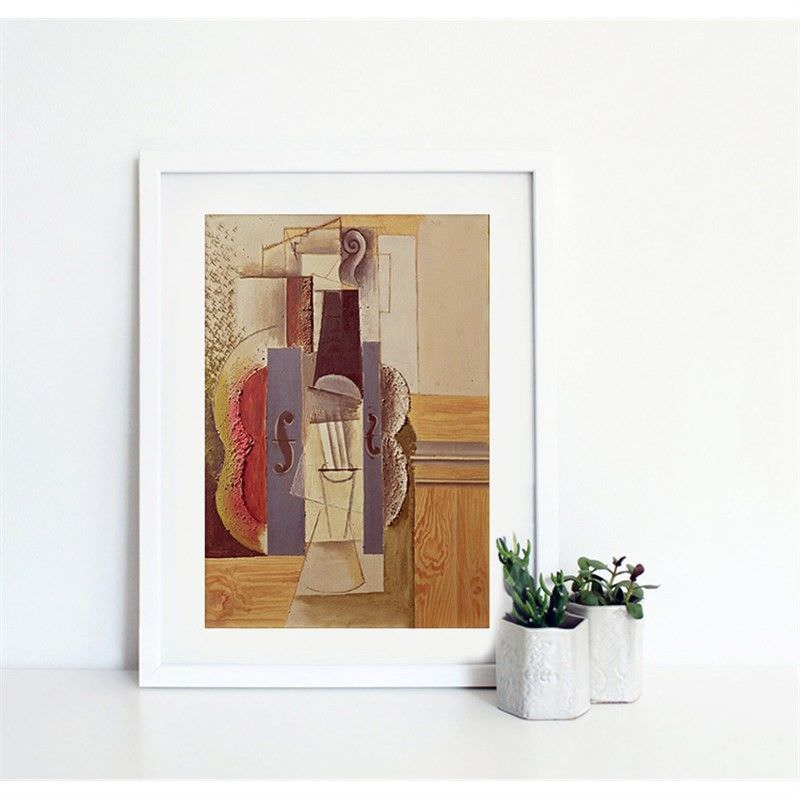 White Framed Canvas Print Wall Art - Violin Hanging on the Wall by Pablo Picasso