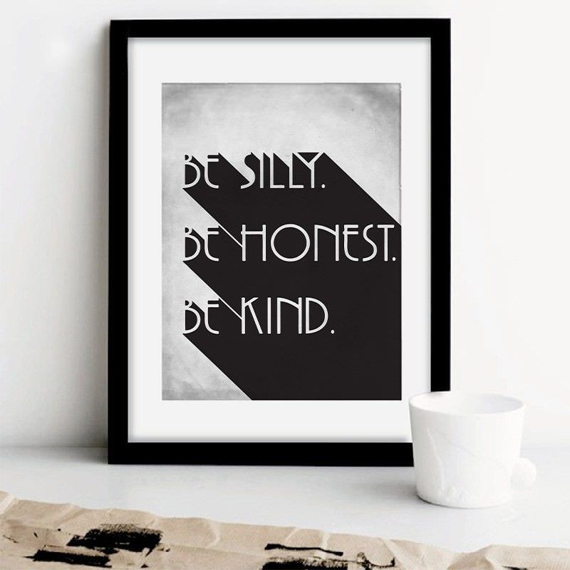 """Black Framed Canvas Print Wall Art - """"Be Silly"""""""