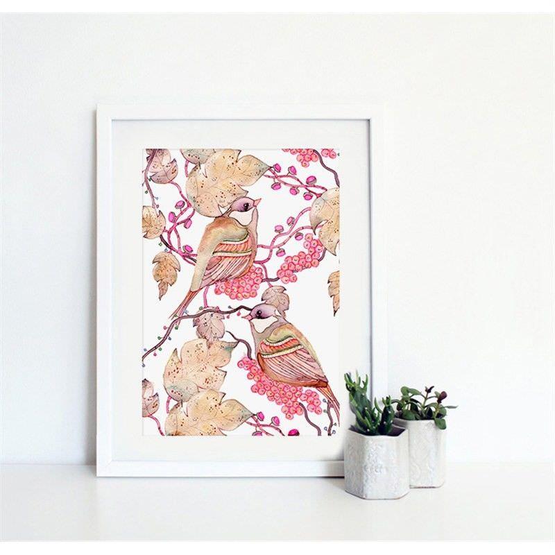 White Framed Canvas Print Wall Art - Bird Paradise C