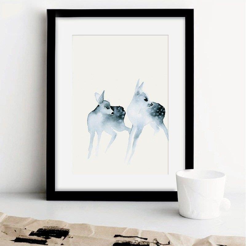 Black Framed Canvas Print Wall Art - Fawn B