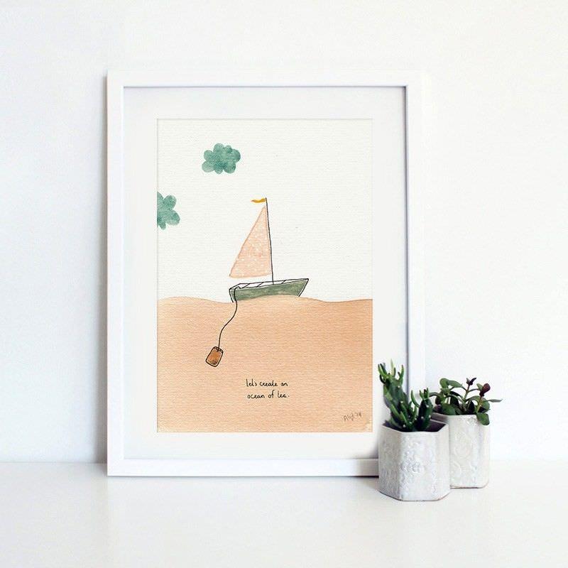 White Framed Canvas Print Wall Art - Coastal Stories A