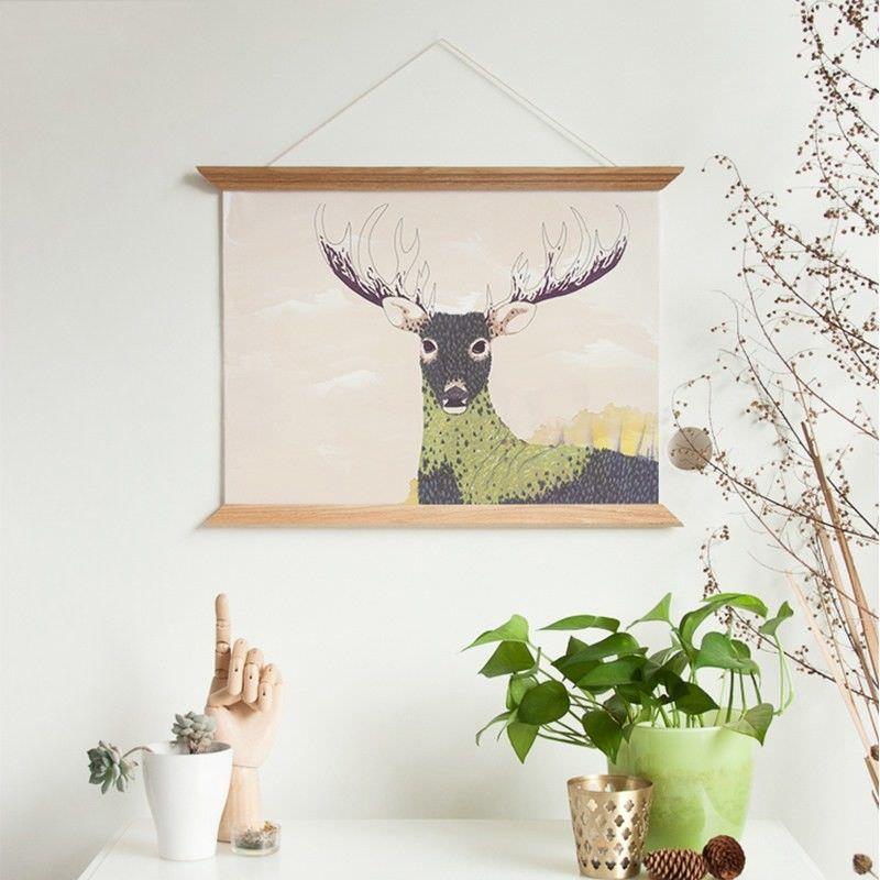 45cm Wooden Scroll Canvas Print Wall Art - Buck