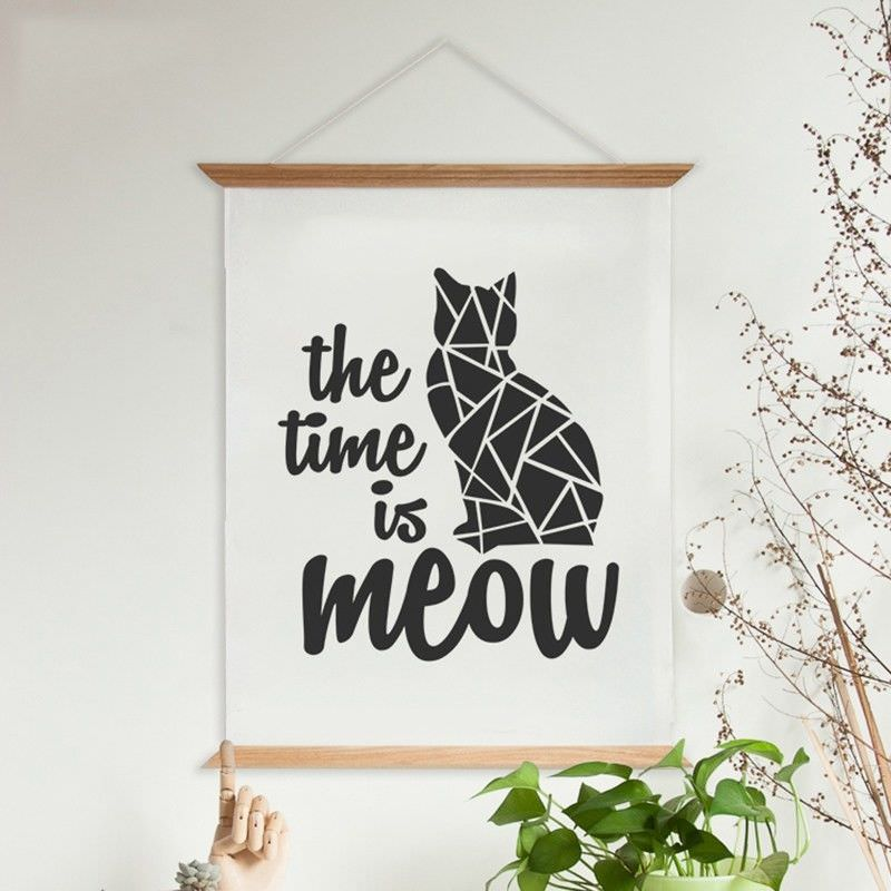 """80cm Wooden Scroll Canvas Print Wall Art - """"The Time Is Meow"""" I"""