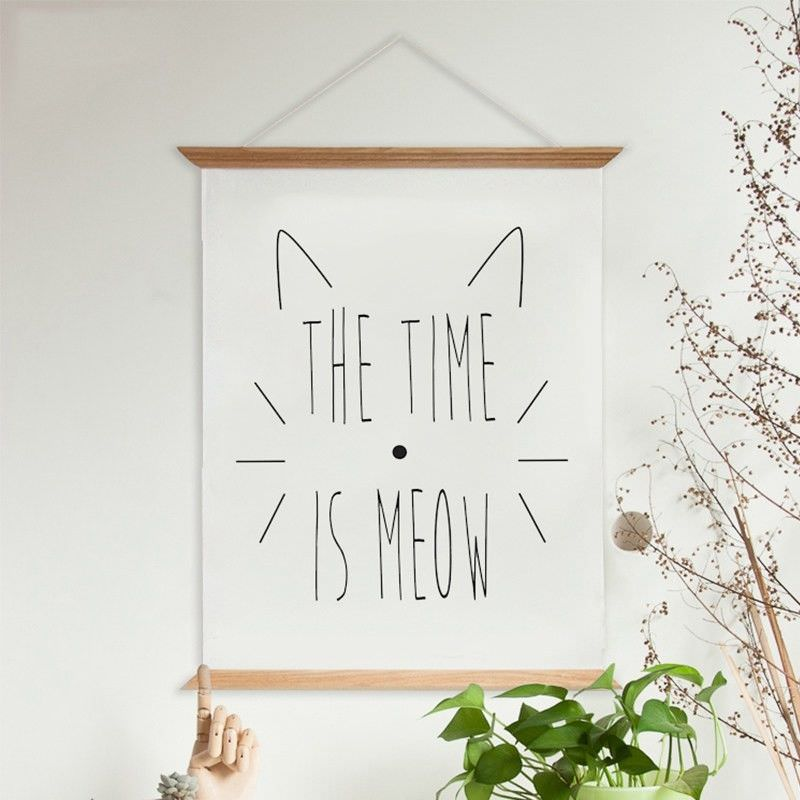 """80cm Wooden Scroll Canvas Print Wall Art - """"The Time Is Meow"""" II"""
