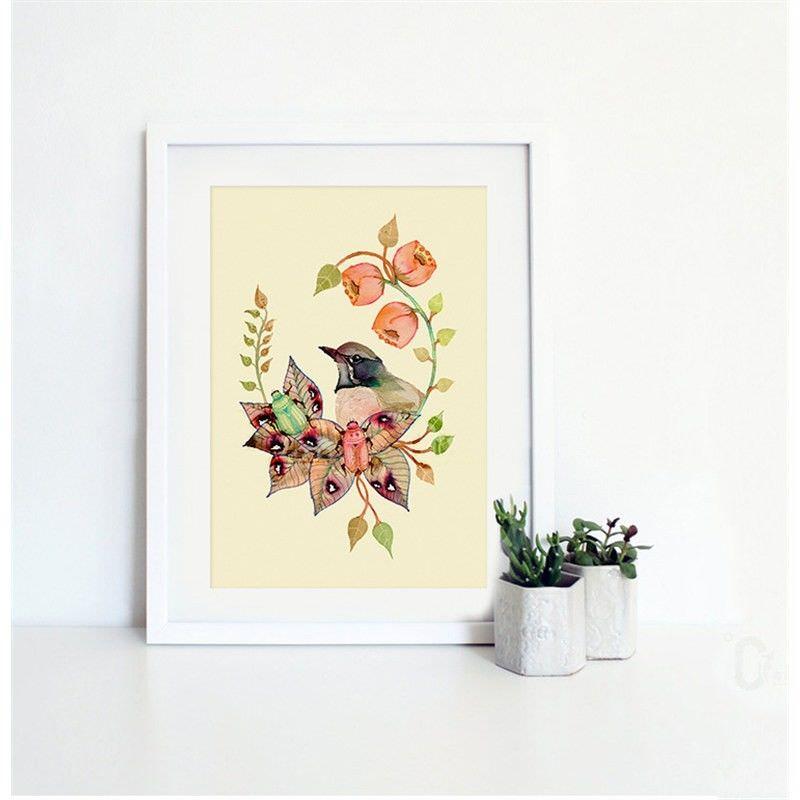 White Framed Canvas Print Wall Art - Bird Paradise H
