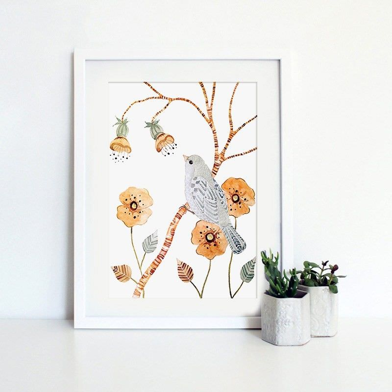 White Framed Canvas Print Wall Art - Garden and Bird A