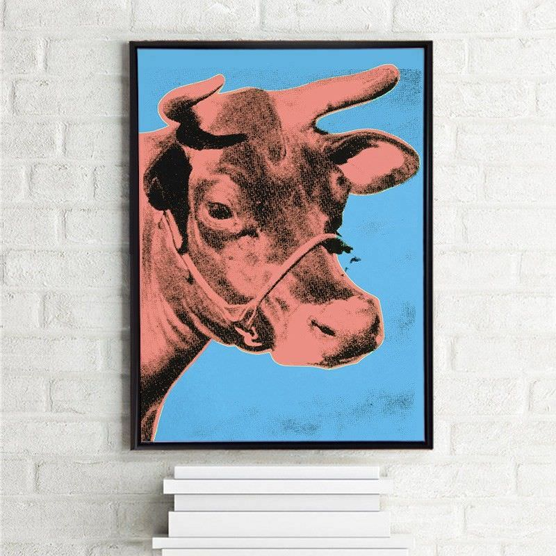 Black Framed Canvas Print Wall Art - Brown Cow by Andy Warhol