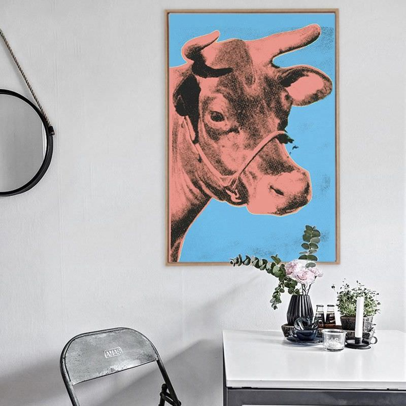 Brown Framed Canvas Print Wall Art - Brown Cow by Andy Warhol