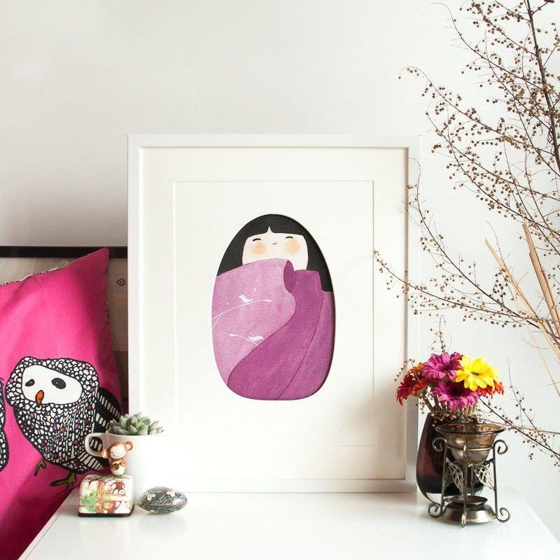 White Framed 3D Canvas Print Wall Art - Plum Kimono Girl
