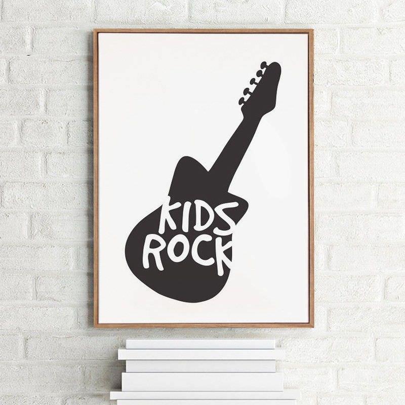 """Brown Framed Canvas Print Wall Art - """"Kids Rock"""""""
