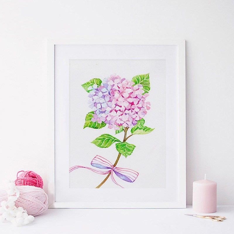 White Framed Canvas Print Wall Art - Hydrangea
