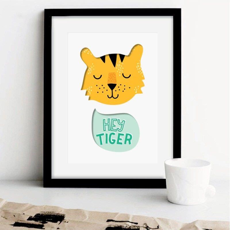 Black Framed 3D Canvas Print Wall Art - Hey Tiger