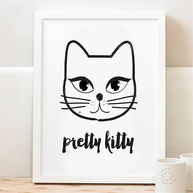 White Framed Canvas Print Wall Art - Pretty Kitty
