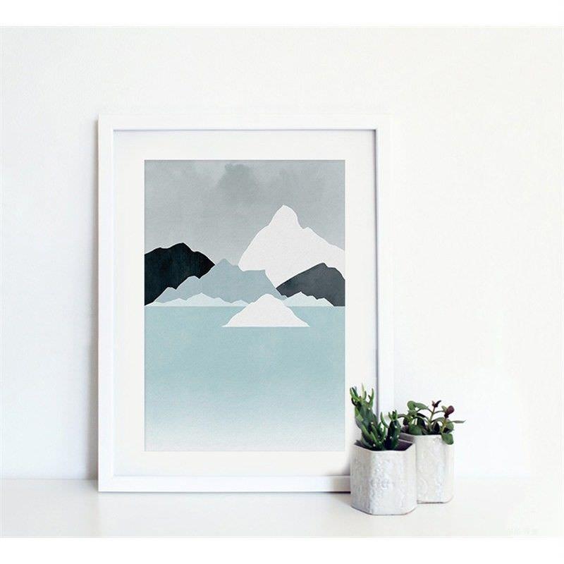 White Framed Canvas Print Wall Art - Impression of Seashore C