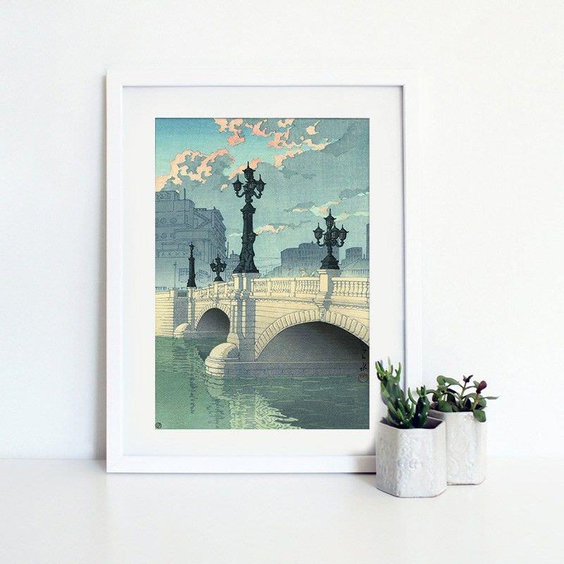 White Framed Canvas Print Wall Art - Nihonbashi Bridge by Hasui Kawase