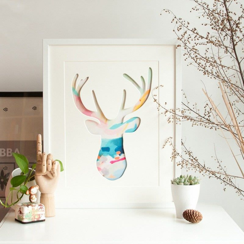 White Framed 3D Canvas Print Wall Art - Stag Head Outline B
