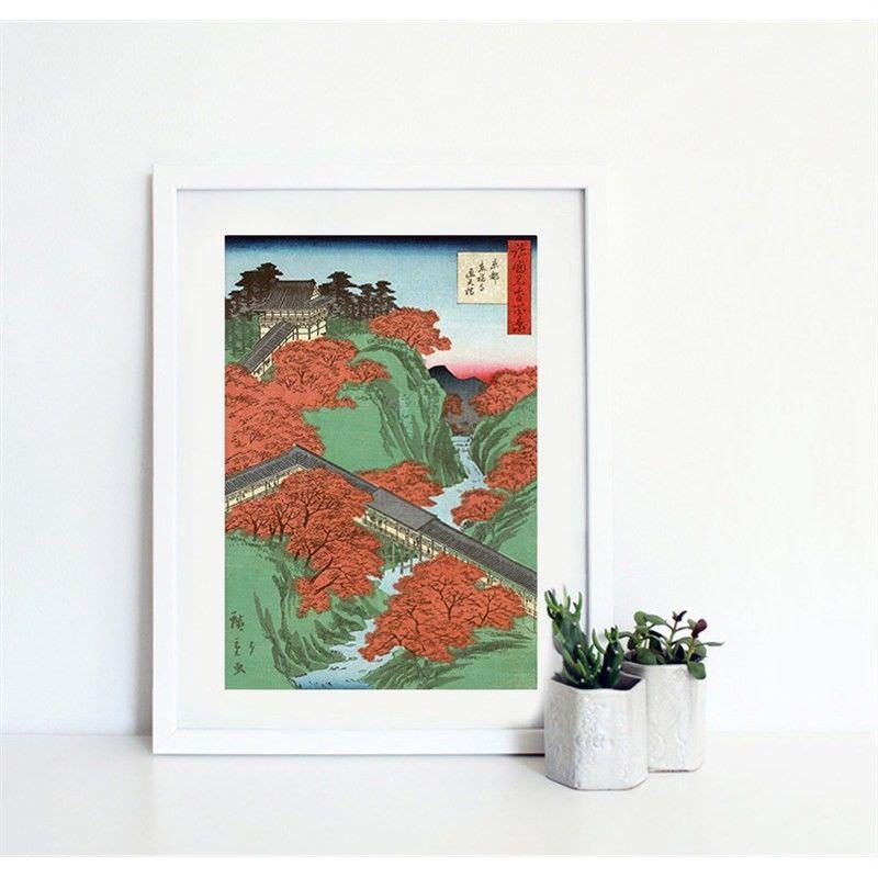 White Framed Canvas Print Wall Art - Tsuten-kyo Bridge at Tofuku Temple by Utagawa Hiroshige