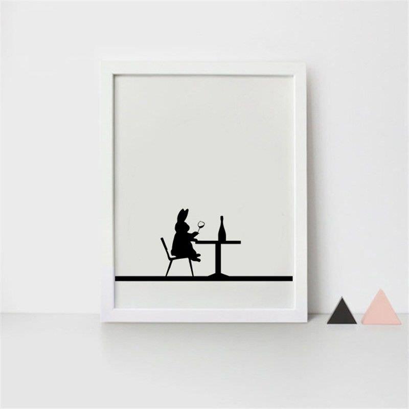 White Framed Canvas Print Wall Art - Dining Rabbit