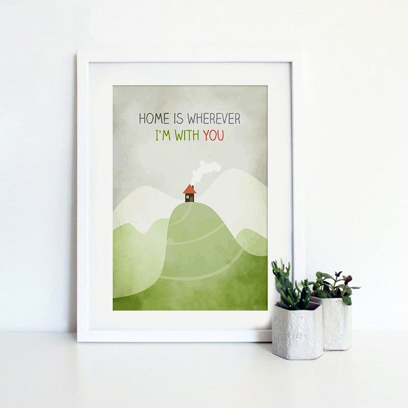 White Framed Canvas Print Wall Art - Home Is Wherever I Am with You