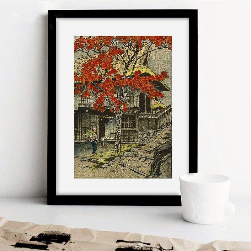 Black Framed Canvas Print Wall Art - House in Ontake by Shiro Kasamatsu