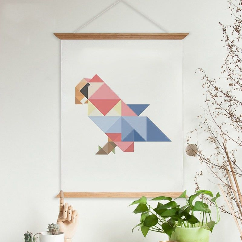 80cm Wooden Scroll Canvas Print Wall Art - Geometric Macaw Parrot
