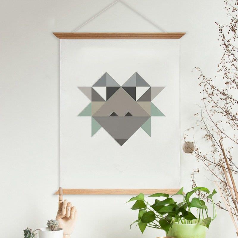 60cm Wooden Scroll Canvas Print Wall Art - Geometric Chimp