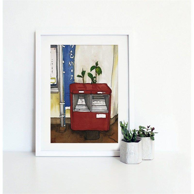 White Framed Canvas Print Wall Art - Mail Box